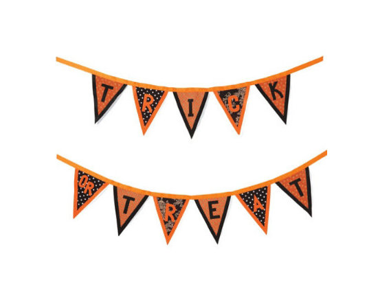 """Grandin Road - Trick or Treat Garland - 2-piece wall banner that reads, """"Trick or Treat"""". Since the words are separate, you can make your own unique design statement. Attach to any mantel, wall, or archway. Reusable, year after year. Brightly and boldly put your Halloween spirit on display, in vintage-inspired style, with our 2-piece Trick-or-Treat Garland. It really makes a statement. Artfully created from nearly 1 ft.-high, classic fabric pennants stitched to orange grosgrain ribbon. Multiple background motifs instill this Halloween banner with designer sophistication.  .  .  .  ."""