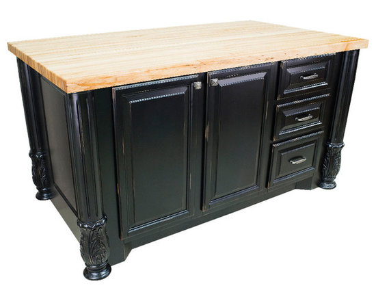"""Inviting Home - Houston Kitchen Island Cabinet (distressed black) - kitchen island cabinet in distressed black finish; 63""""W x 37-1/2""""D x 34-1/4""""H; 1-3/4"""" hard maple butcher block top (05) sold separately; Distressed black kitchen island cabinet with fluted Acanthus posts. Kitchen island features soft-close under-mount slides and soft-close European hinges. 1-3/4"""" hard maple butcher block top (05) sold separately."""