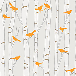 Birds & Birch - Neutral and Orange modern wallpaper