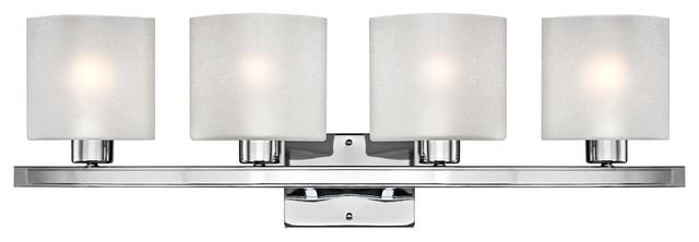 "Possini White Linen Glass Chrome 32"" Wide Bath Light contemporary-bathroom-vanity-lighting"