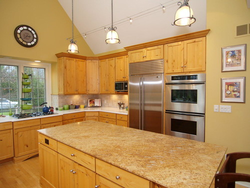 Paint color in kitchen with hickory cabinets for Can you paint kitchen cabinets that are not real wood