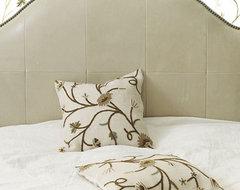 "18"" Square Poisitano Burlap Crewel Pillow traditional-decorative-pillows"