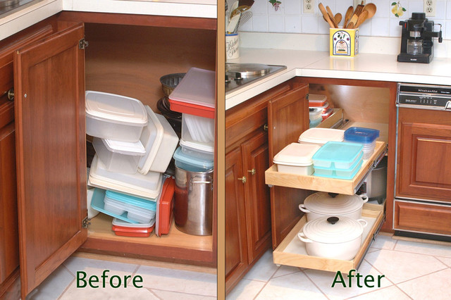 Pull Out Blind Corner Cabinet Solution - Kitchen Drawer Organizers - other metro - by ShelfGenie ...