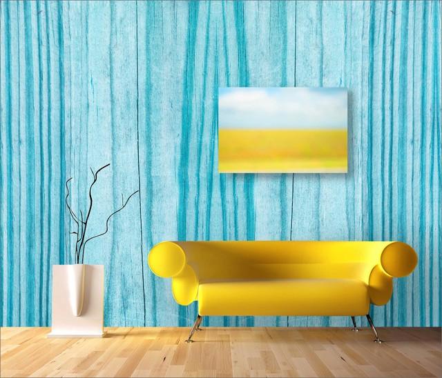 GardenWalls, Sandalwood, Turquoise contemporary-wallpaper