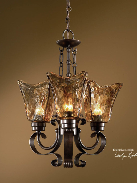 Uttermost - Vetraio 3 light Chandelier by Uttermost with Oil-rubbed bronze Finish 21008 - Heavy hand made glass is held in classic European iron works giving these pieces a contemporary quality, with strong traditional appeal as well.