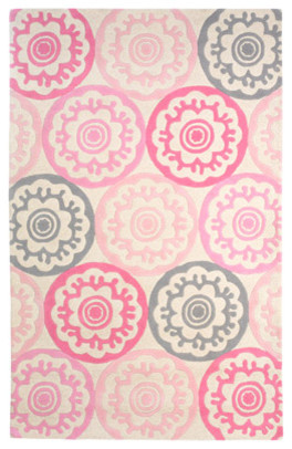 DwellStudio Kids Tufted Wool Rug Zinnia Rose contemporary kids rugs
