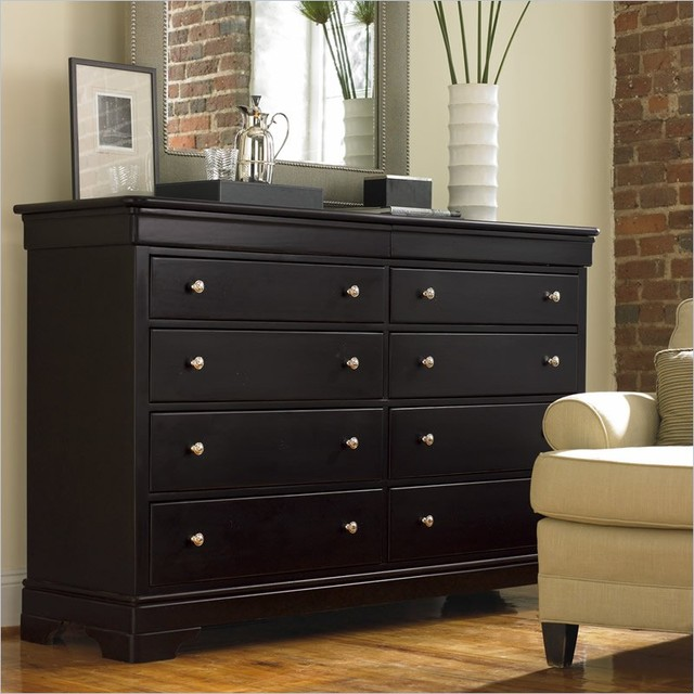 stanley furniture louis louis black opal double dresser traditional