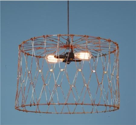 Aged Metal Cage Drum Shade Pendant, Large contemporary-pendant-lighting