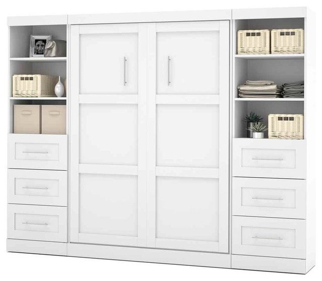 Full Wall Bed Unit With Drawers In White Contemporary