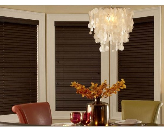 "Dark Wood Blinds- Dining Room Inspiration - Wood Blinds are a great investment because of their timeless appeal and durability. 3 Day Blinds offer Wood Blinds in 2"" or 2 ½"" slat sizes, plus classic stains and finishes to coordinate with furnishings and wall colors."