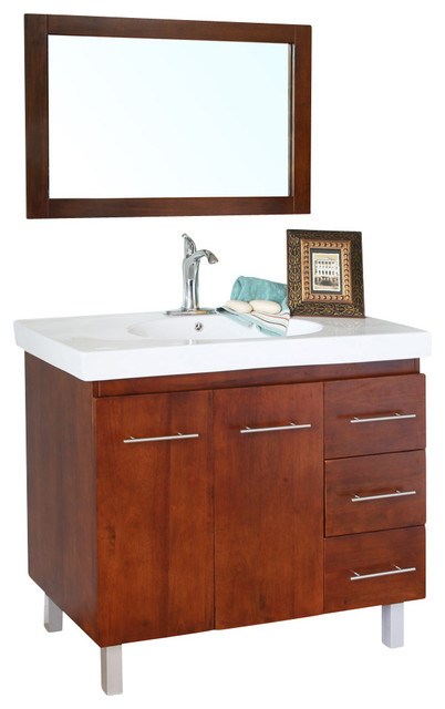 39 in Single sink vanity-wood-walnut-right side drawers - modern ...