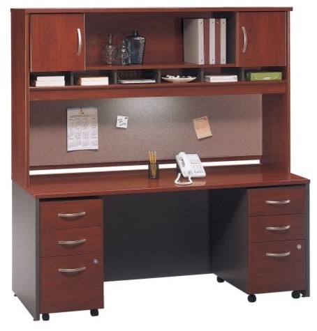 Bush Series C Credenza and 72 Inch Hutch with Mobile File Drawers In Hansen Cher contemporary-desks-and-hutches