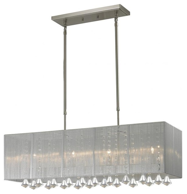Four Light Brushed Nickel Nylon Silver Shade Island Light contemporary-kitchen-lighting-and-cabinet-lighting