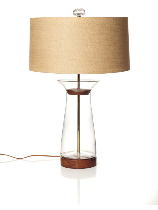 Blenko Clear Flare Table Lamp - Flare-shaped Blenko clear glass table lamp with burlap shade.