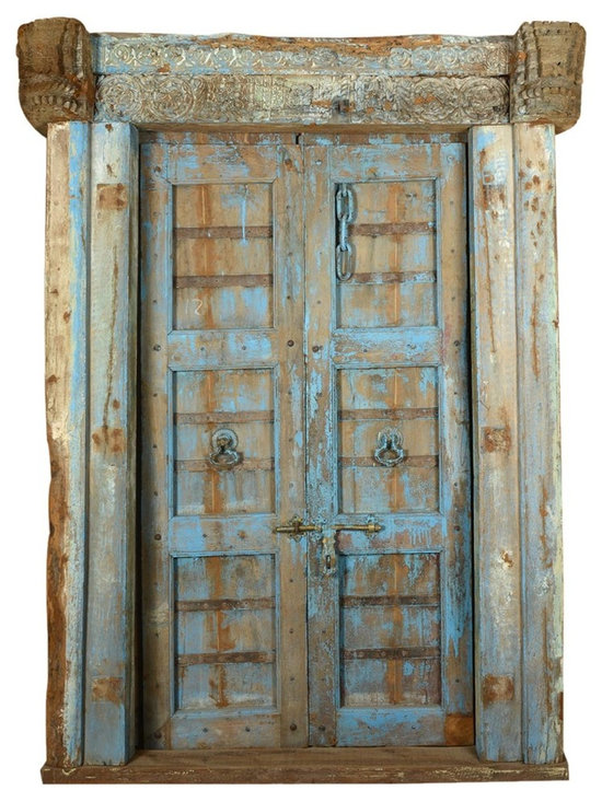 Sierra Living Concepts - Beautiful Historic Handcrafted Blue Antique Style Door - Indian doors that once belonged to Indian family homes and businesses are unique, mysterious and very interesting. They have history and a historic beauty other doors just do not possess. This door is very well preserved throughout the years, will serve its original purpose as a provider of security and beauty for many years to come.