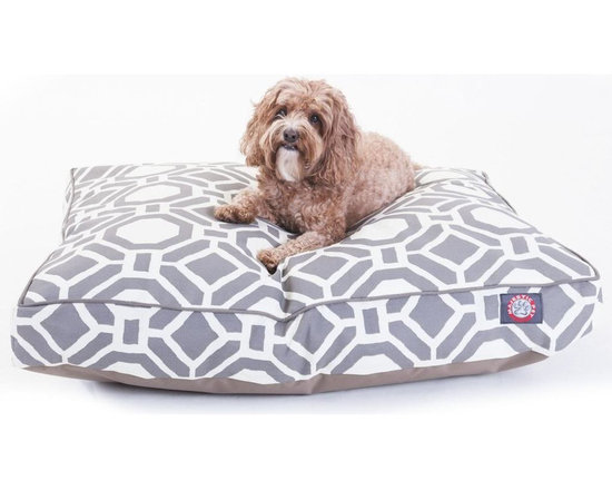 Majestic Pet Products - Santorini Clay Mosaic Medium Rectangle Pet Bed - Show how much you care by giving your pet a bed that might be more comfortable than your own. The Majestic Pet Patterned Pet Bed is the perfect combination of style, function and comfort. It features a removable zippered slipcover that is woven from durable Outdoor Treated 10oz polyester, with 2500 hours of UV protection. The base of the bed is made of heavy duty waterproof 300/600 Denier fabric, which allows you to move your pet wherever you are, inside or out. Each bed is filled with a super plush fiberfill that provides ample amounts of comfort. To wash: Spot clean the slipcover with a mild detergent and hang dry.