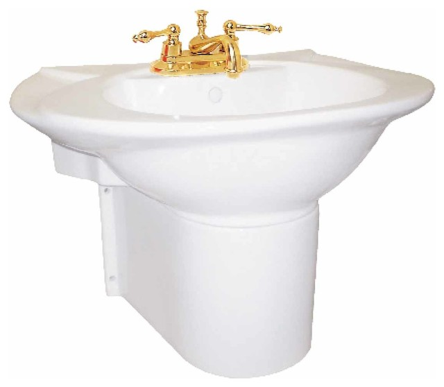 Pedestal Sinks White China Half Pedestal Wall Mount Sink 4 15355 Transitional Bathroom