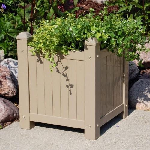 Dura-Trel Small Square Resin Mocha Slat Vinyl Planter traditional-outdoor-pots-and-planters