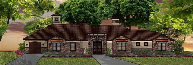 Houston area stucco homes mediterranean exterior for Houston house elevation