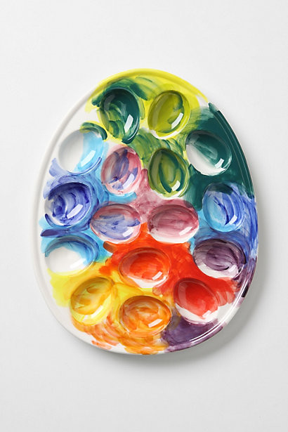 Imprinted Palette Egg Caddy contemporary-platters