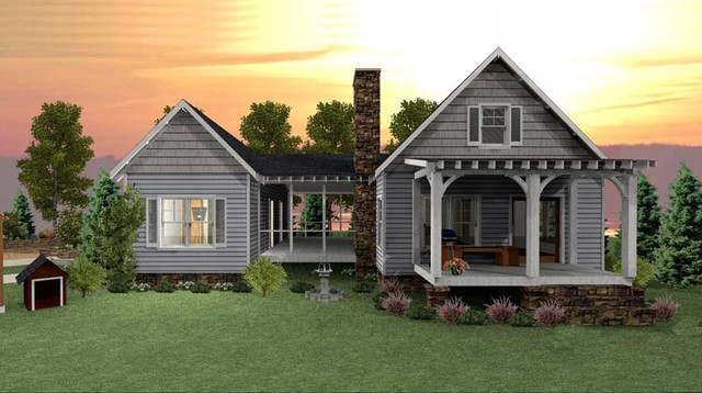 Camp creek cabin traditional rendering atlanta by for Max fulbright lake house plans