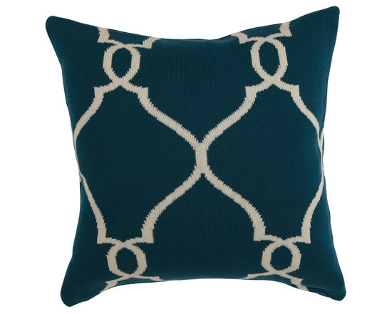 Ethan Allen - Teal and Ivory Fretwork Pillow - Geometric design meets modern cool. Our bold fretwork pillow serves up a traditional pattern in a bold scale in on-trend teal and ivory.