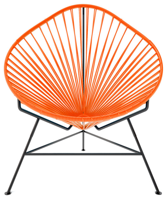 Acapulco Chair, Orange Weave On Black Frame contemporary-chairs