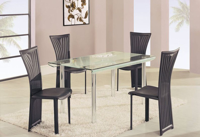 high class rectangular glass top dining furniture set