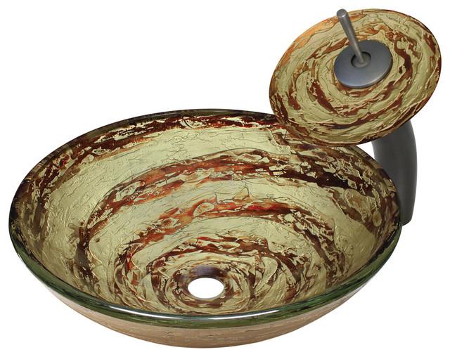 MR Direct 631 Foil Undertone Glass Vessel Sink, Oil Rubbed Bronze, Glass Waterfa modern-bathroom-sinks