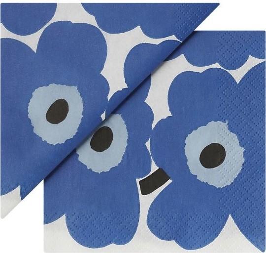 "Set of 20 Marimekko Unikko Blue Paper 4.75"" Napkins modern-napkins"