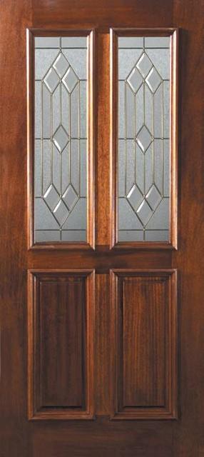 Slab front single door 80 mahogany dover 2 panel twin lite for 6 panel glass exterior door