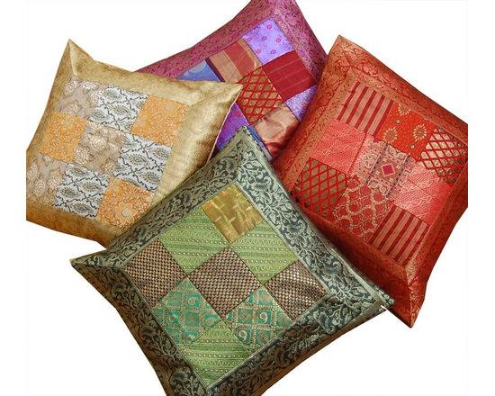 Indian Sari Patchwork Cushion Covers -