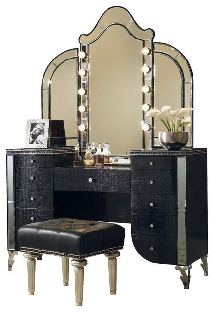 Hollywood Swank Vanity with Mirror and Bench - Contemporary - Desks And Hutches - by Carolina ...
