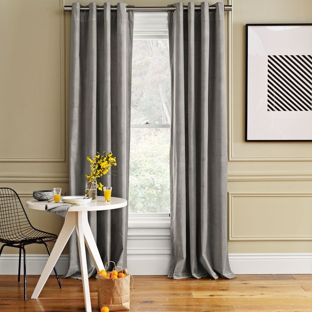 Velvet Window Panel, Dove Gray traditional curtains