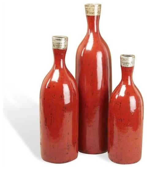Interlude Home Averil Bottle Vases - Crimson rustic-vases