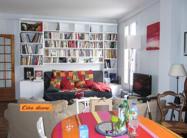 Cuisine ouverte sur salon bois colombes 92 contemporary family room - Cuisine ouverte sur le salon ...