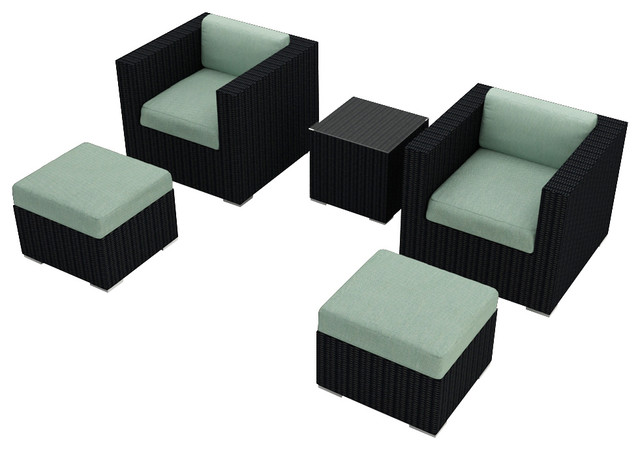 Urbana 5 Piece Patio Club Chair Set, Spa Cushions modern-patio-furniture-and-outdoor-furniture