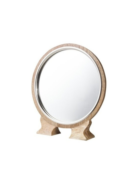 Threshold Round Wood Vanity Mirror - This little mirror is a wonderful nod to the anthropomorphic furniture style. It's perfect for a dresser that a traditionally hung mirror won't work with.
