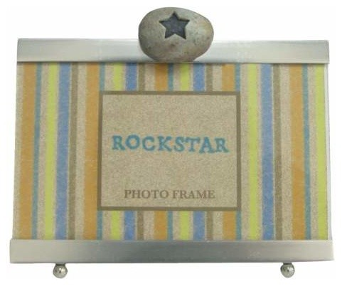 4 x 6 Inch Rock Star Inscription Smooth Silver Finish Photo Frame modern-picture-frames