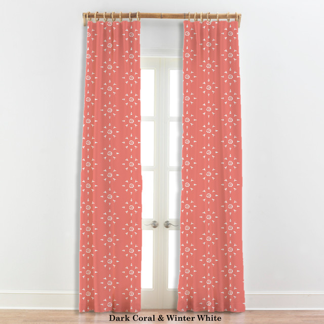 Coral And Navy Curtains Fuschia and White Curtains