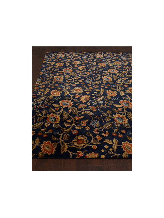 "Horchow - ""Indigo Fall"" Rug - Keep your room blooming with this glorious floral rug inspired by the designs from the Mansions of Newport, Rhode Island (under license by The Preservation Society of Newport County). Hand tufted of wool pile. Cotton canvas backing. Sizes are appro..."