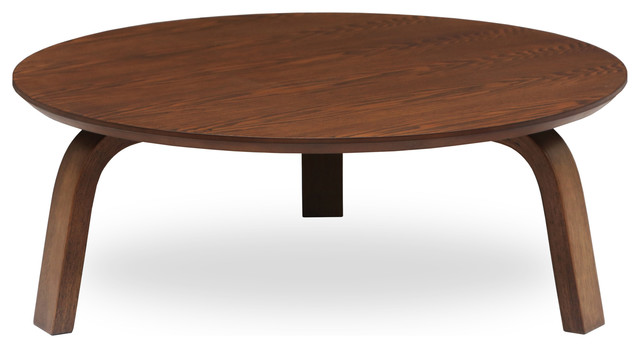 Nes Cocoa Wood Round Coffee Table Craftsman Coffee Tables By