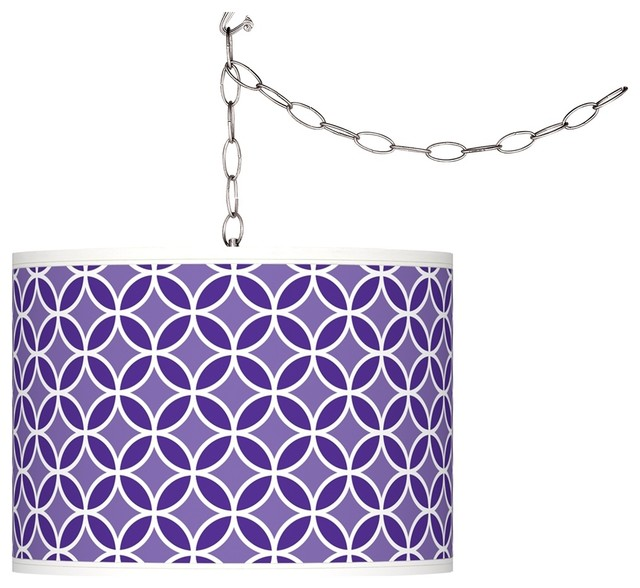 Violet Circle Rings Giclee Glow Plug-In Swag Pendant contemporary-chandeliers