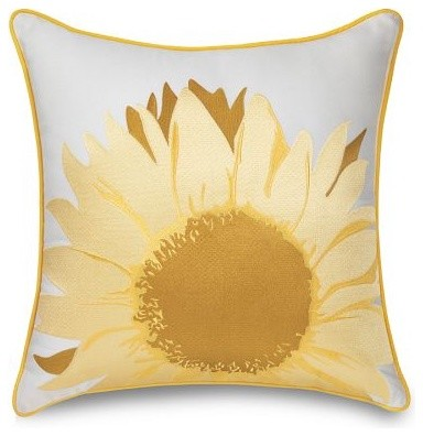 Sunflower Embroidered Outdoor Pillow contemporary-outdoor-pillows