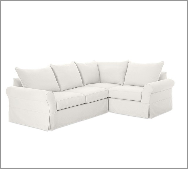 PB Comfort Slipcovered 3-Piece Sectional | Pottery Barn traditional sectional sofas
