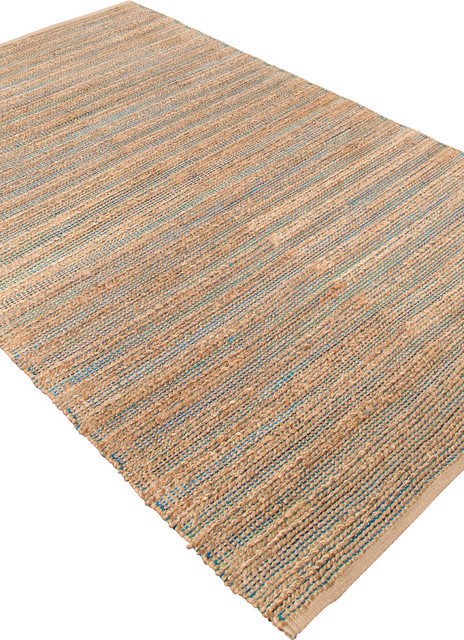 Naturals Solid Pattern Cotton/Jute Blue/Tan Area Rug (5 x 8) eclectic-rugs