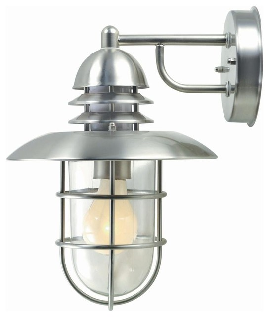 Stainless Steel Wall Lights Outside : Illumine Wall Mounted 1-Light Outdoor Stainless Steel Wall Lamp CLI-LS415077 - Contemporary ...
