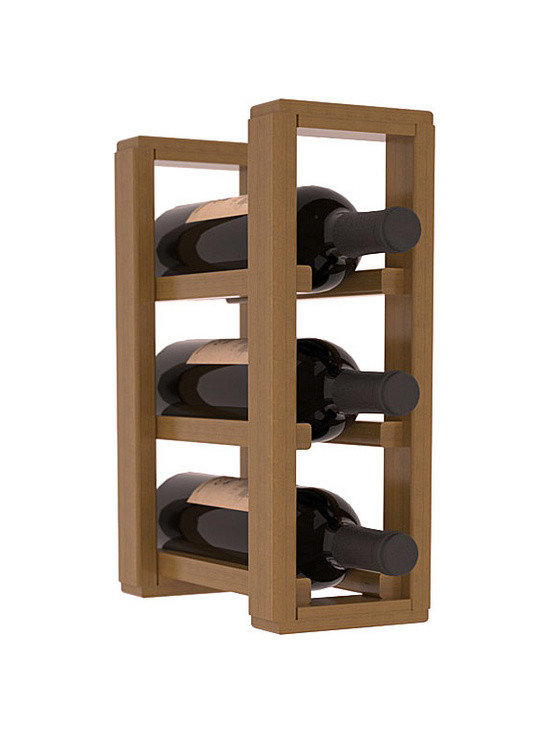 Wine Racks America® - 3 Bottle Counter Top/Pantry Wine Rack in Redwood, Oak Stain + Satin Finish - These counter top wine racks are ideal for any pantry or kitchen setting.  These wine racks are also great for maximizing odd-sized/unused storage space.  They are available in furniture grade Ponderosa Pine, or Premium Redwood along with optional 6 stains and satin finish.  With 1-10 columns available, these racks will accommodate most any space!!