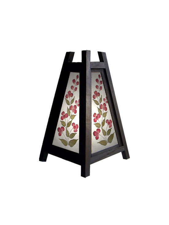 """Oriental-Decor - 10.5"""" Triangular Cut Flower Lamp - One of the prettiest selections in the Decorative Lamps Collection is the Triangular Cut Flower Lamp. Standing at 10.5 inches this decorative lamp is made from polished bamboo and exotic saa paper. Bamboo is one of the most versatile materials in Asian and Chinese culture, widely used in artwork, furniture, handicrafts, and screen paintings for many years. saa paper on the other hand is a beautiful paper sourced from the mulberry paper tree. An ideal material for drawings and paintings, the Saa paper material of this lamp features a pretty floral hand painting. This pretty design comes to life once the lamp is lighted, giving off a creatively unique yet practical illumination. Assembling this lamp is easy, as it comes with its own 110-volt electrical cord, bulb, socket, and switch. Place this flower lamp on top of a corner table, on a shelf, or use it as a bedside lamp. Alternatively, you can gift your friends with this pretty Oriental lamp as well."""
