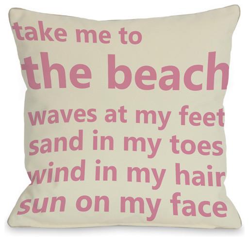 Take Me to the Beach Throw Pillow contemporary-pillows